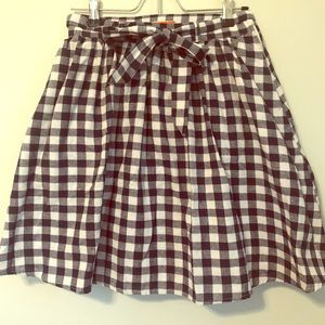 ModCloth checkered plaid skirt with bow belt